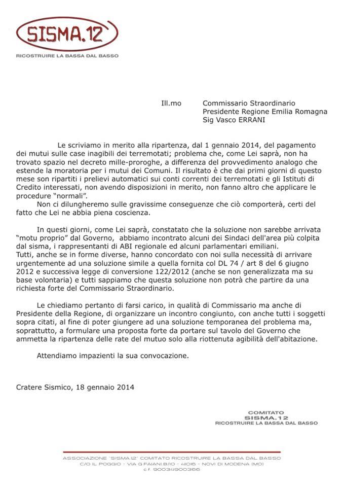 lettera ad Errani dal cratere sismico